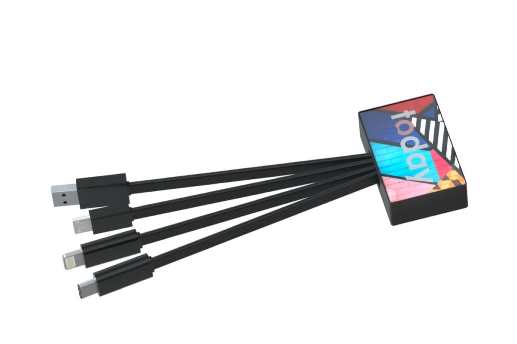 Connettore multiplo con connettori USB standard, micro-USB, Lightning e USB-C